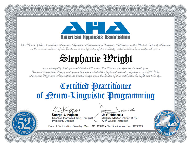 Certified Practitioner of Neuro Linguistic Programming Certificate