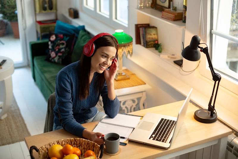 Stock: Female Studying on Laptop