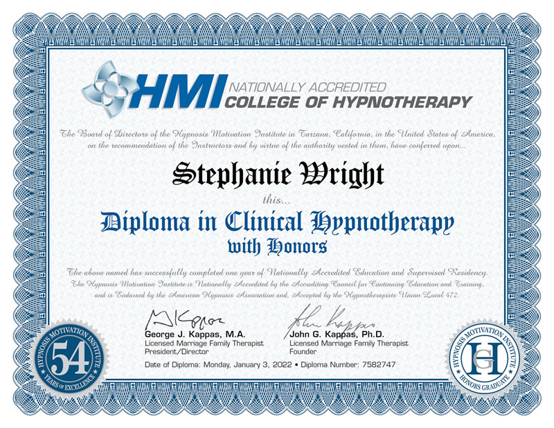 Certificate: Diploma in Clinical Hypnotherapy