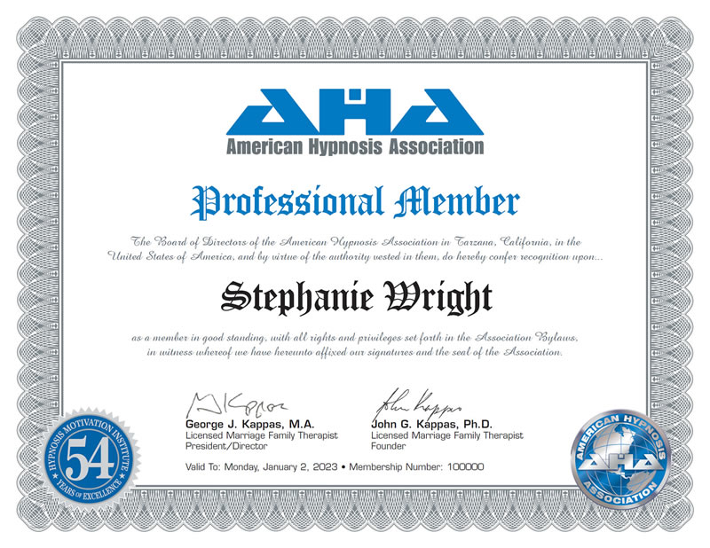 Certificate: American Hypnosis Association - Professional Member